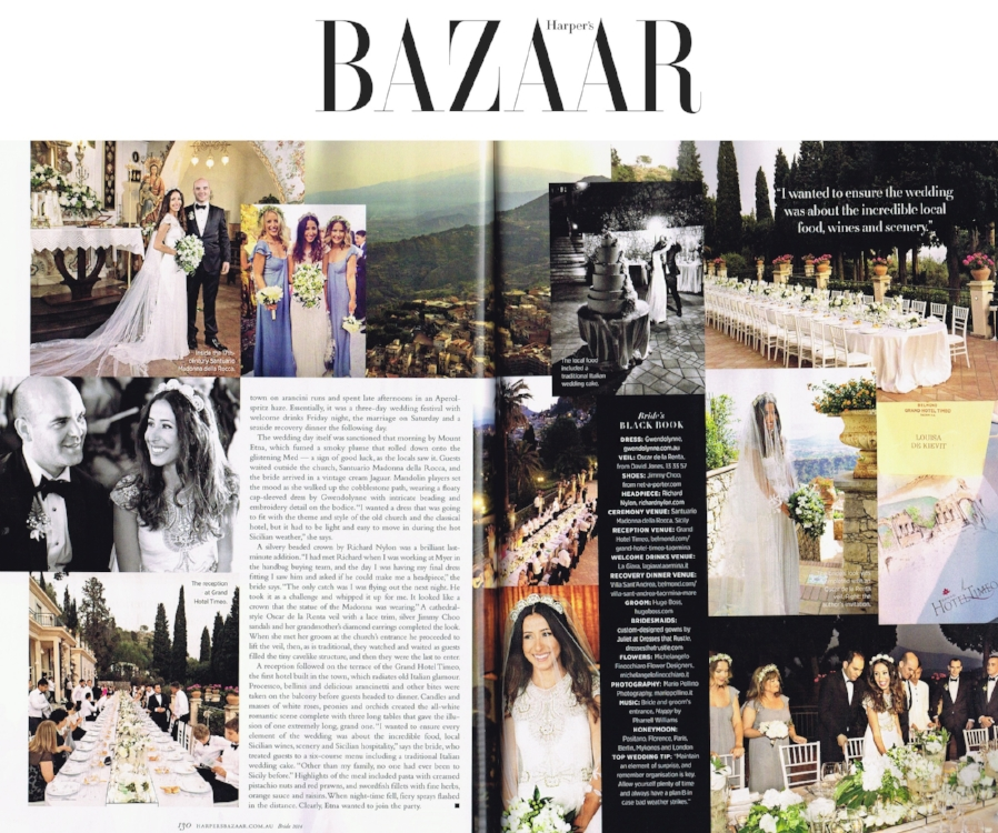 Harpers Bazaar - Fran wearing the Gwendolynne Hope wedding dress