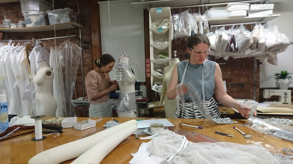 Designer Gwendolynne Burkin working on Kate Miller-Heidke for Eurovision costume 2.jpg