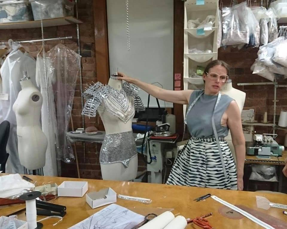 Designer Gwendolynne Burkin working on Kate Miller-Heidke for Eurovision costume 3 .jpg