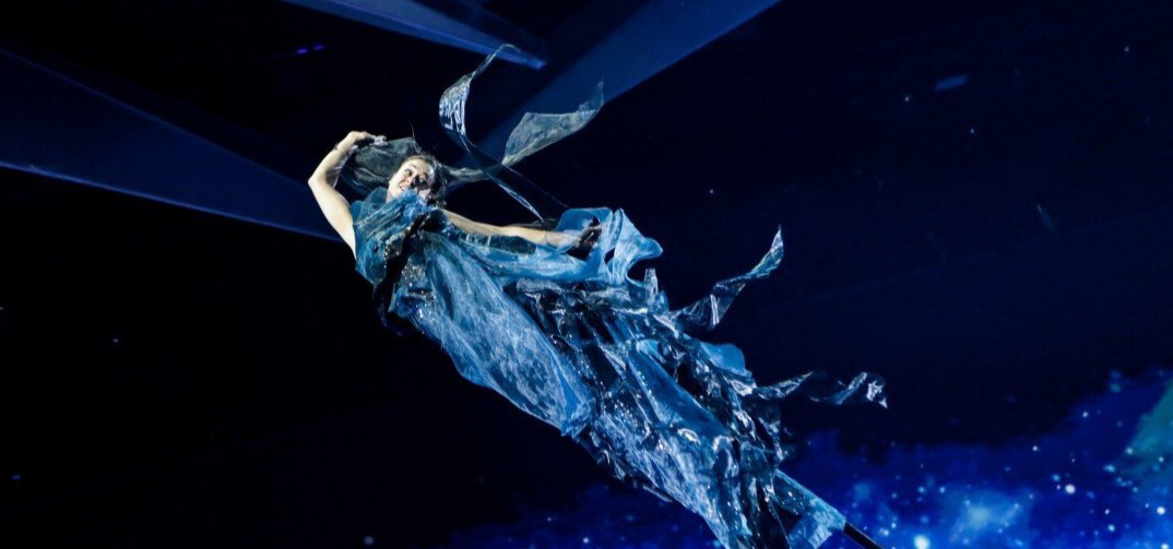 Performer Emily Ryan of Strange Fruit for the Eurovision Tel Aviv first rehearsal in the Gwendolynne costume