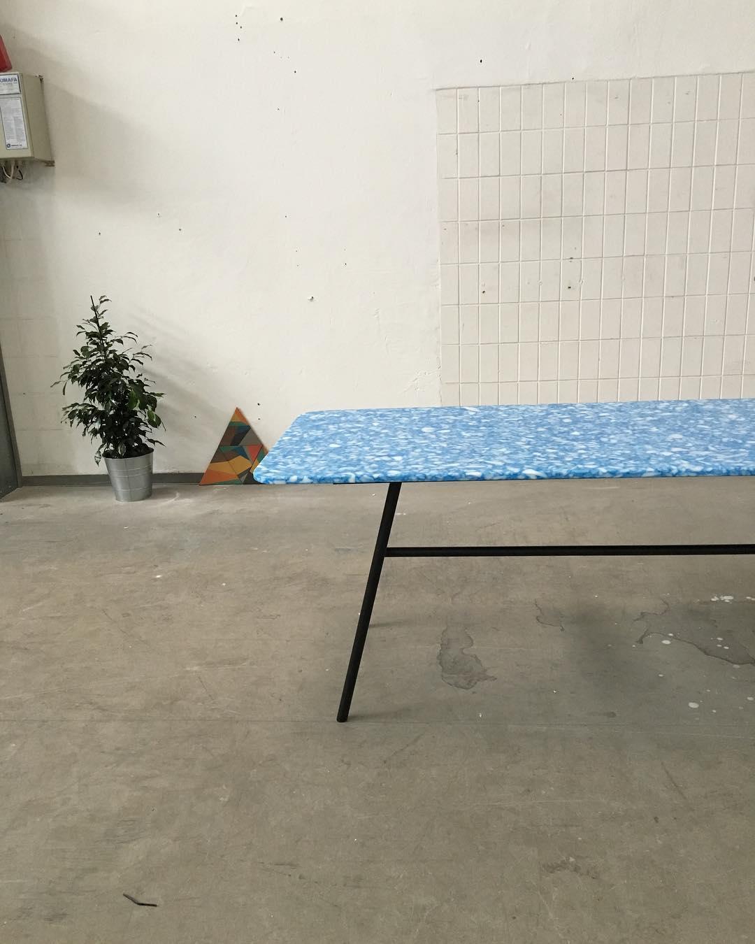 Table of recycled plastics   By   Slik Design Studio