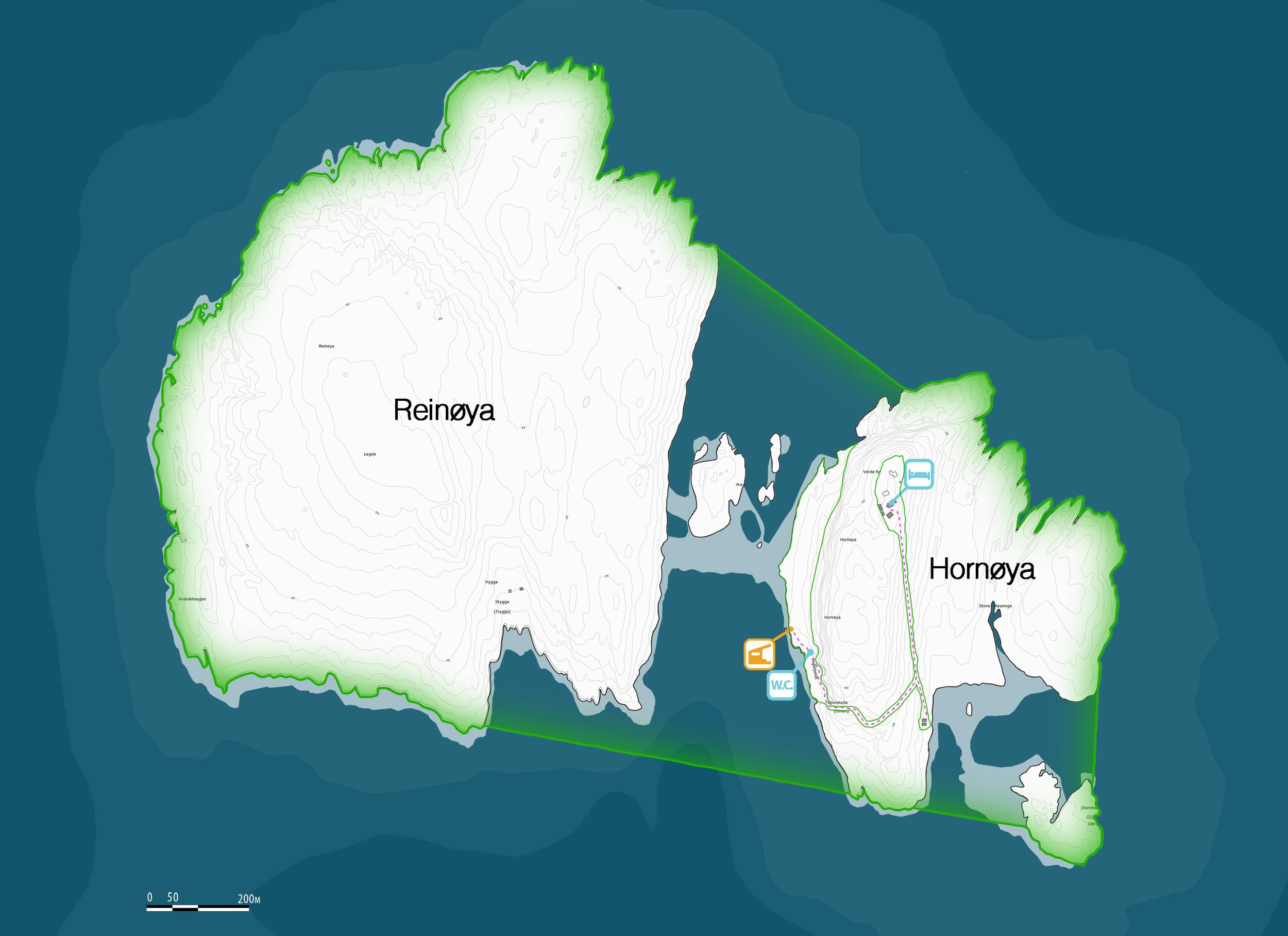 M Kart som viser omfanget av naturreservatet Reinøya/Hornøya (markert i grønt)