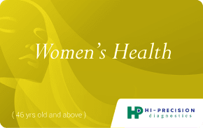 Hi-Precision Women's Health Gold Package    One-time use health package for women over 45 that includes routine and specialized tests to asses the risk of heart disease, screen for diabetes, and evaluate thyroid and liver functions.   ₱4780
