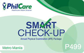 Philcare Smart Checkup    ₱499 one-time payment   One basic physical exam from PhilCare's Hi-precision clinics