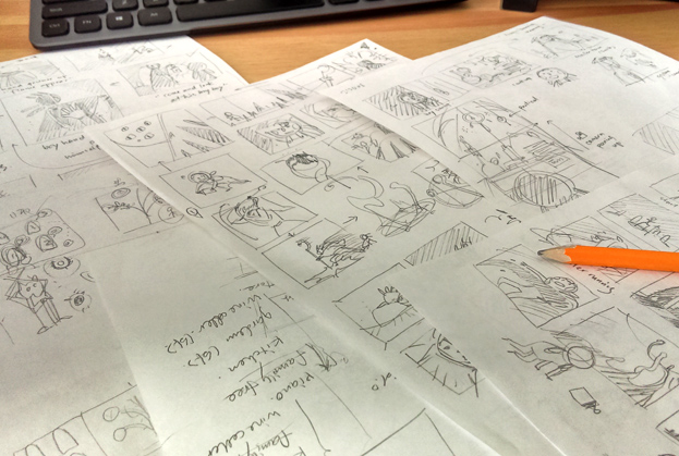 some of the storyboard drafts