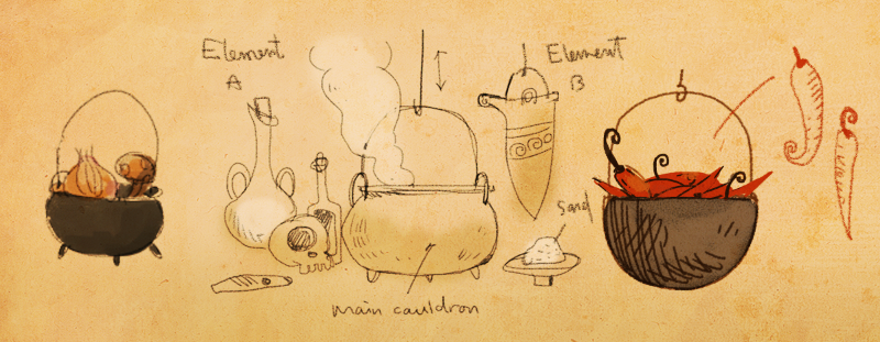 design sketch of the cooking puzzle in LUNA