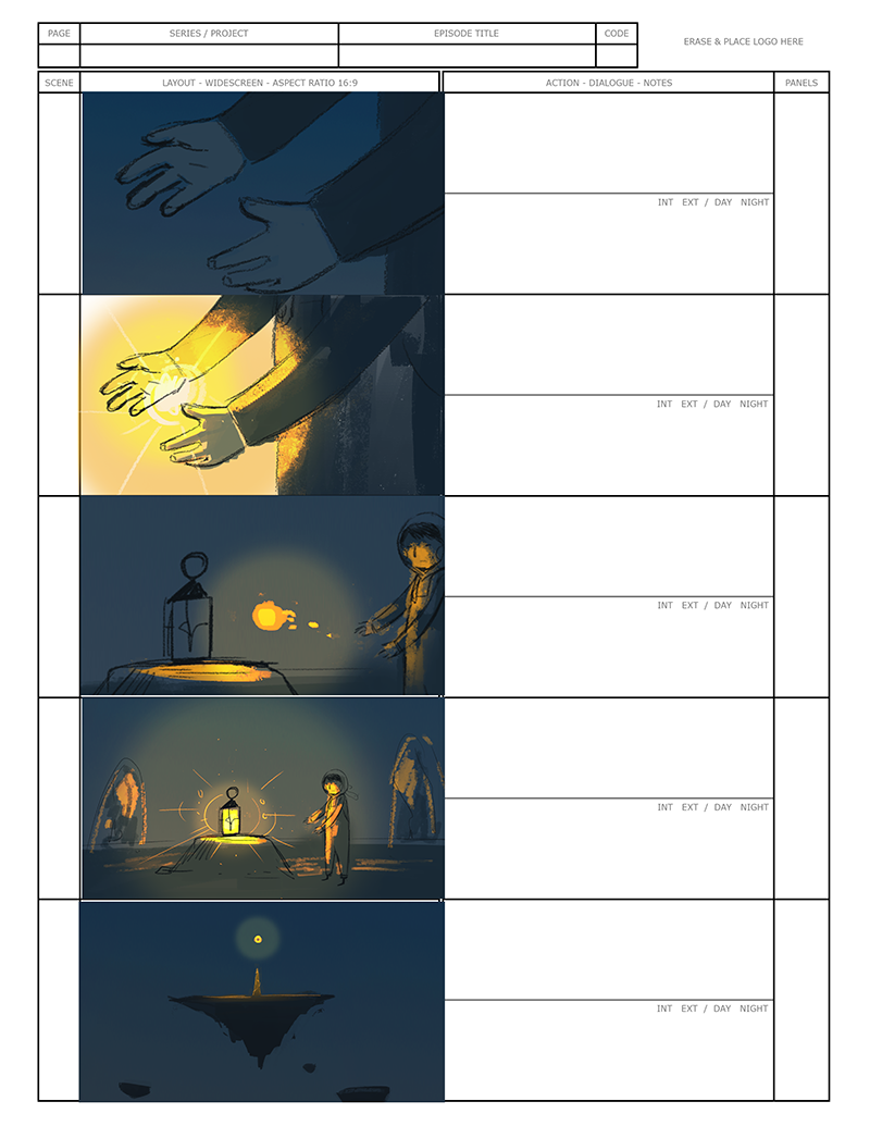 Storyboard of one of the cinematic I've been working on right now