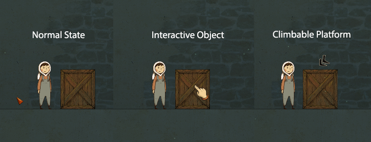 The improved cursor designs (arrow/hand/feet) for a clearer interactive experience in the game.