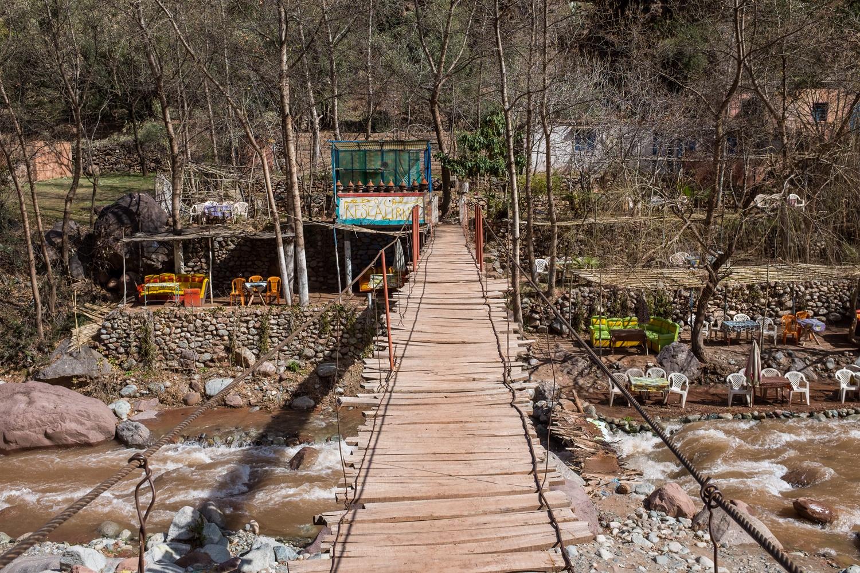 Wooden bridges line the Ourika river.