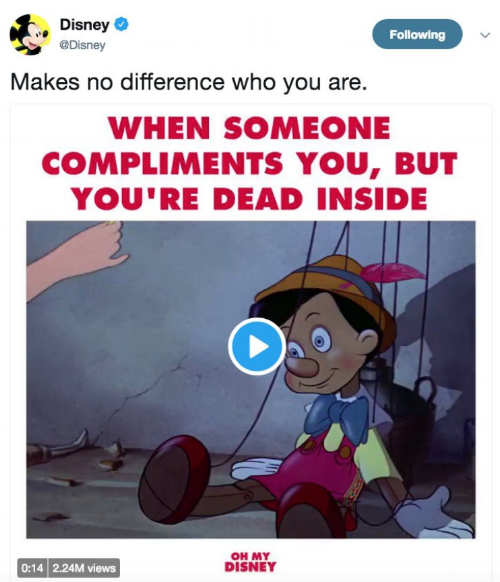 Screenshot of Disney's Twitter account posting an objectionable Pinocchio meme.