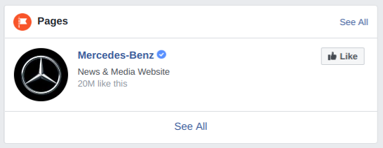 """Screenshot of Mercedes-Benz's Facebook page describing the company as a """"news & media website."""""""