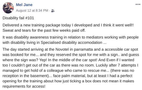 """Mel Harrison social post: Accessible parking spot was blocked by the """"accessible parking"""" sign."""