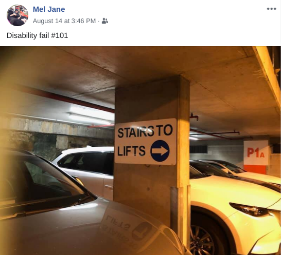 """Mel Harrison social post: Sign in parking garage, """"stairs to lifts."""""""