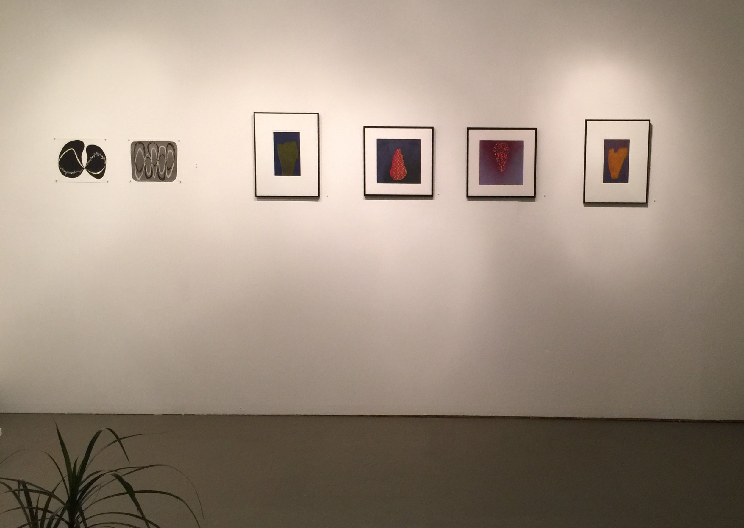 (left to right) Work by MFA candidate in printmaking Dylan Welch, and Professor Tony Crowley.