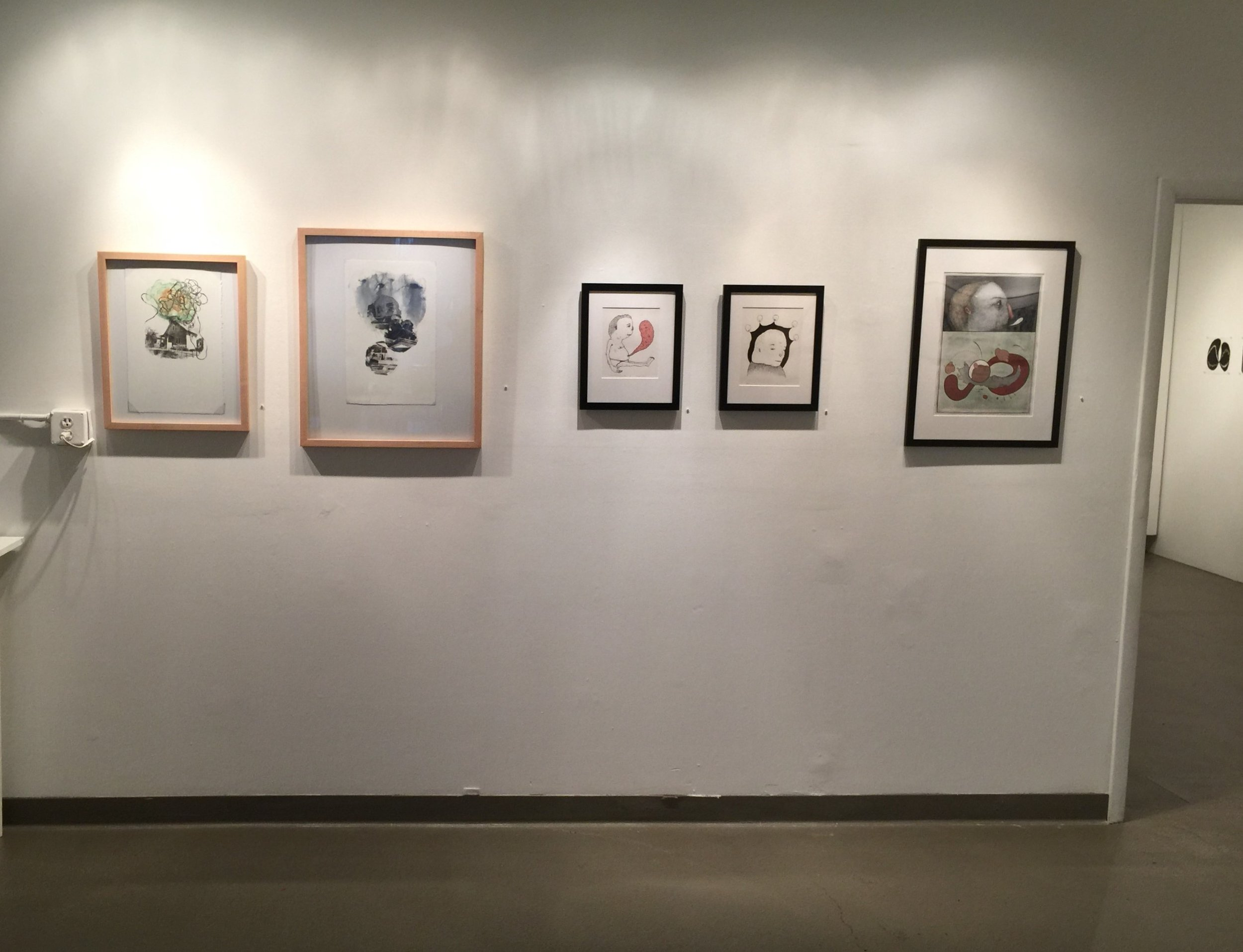 (left to right) Work by MFA printmaking student Molly Markow and Morgan Price.