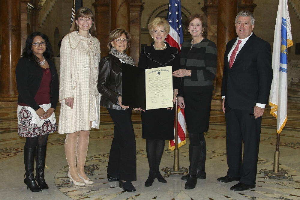 Photo Caption: National civility Foundation Board members at the state house on Massachusetts day of civility. pictured are (l to r) Smrati Mahalwal, NCF computer science Intern, Snezana Pejic, Carmella Kletjian, Judith Bowman, Founder and Executive Director, Rosanne Thomas and Bernard F. Yetman, Jr., ESQ., 2016  Photo credit: John Williams