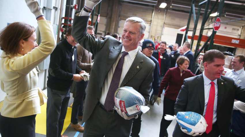 Gov. Charlie Baker, Boston Mayor Marty J. Walsh, and Attorney General Maura Healey handed out turkeys at a food bank last week, which is something nice. –Pat Greenhouse / The Boston Globe
