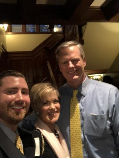 THE HONORABLE CHARLIE BAKER WITH JUDITH BOWMAN, EXECUTIVE DIRECTOR AND BO HEALEY, INTERN, NATIONAL CIVILITY FOUNDATION.