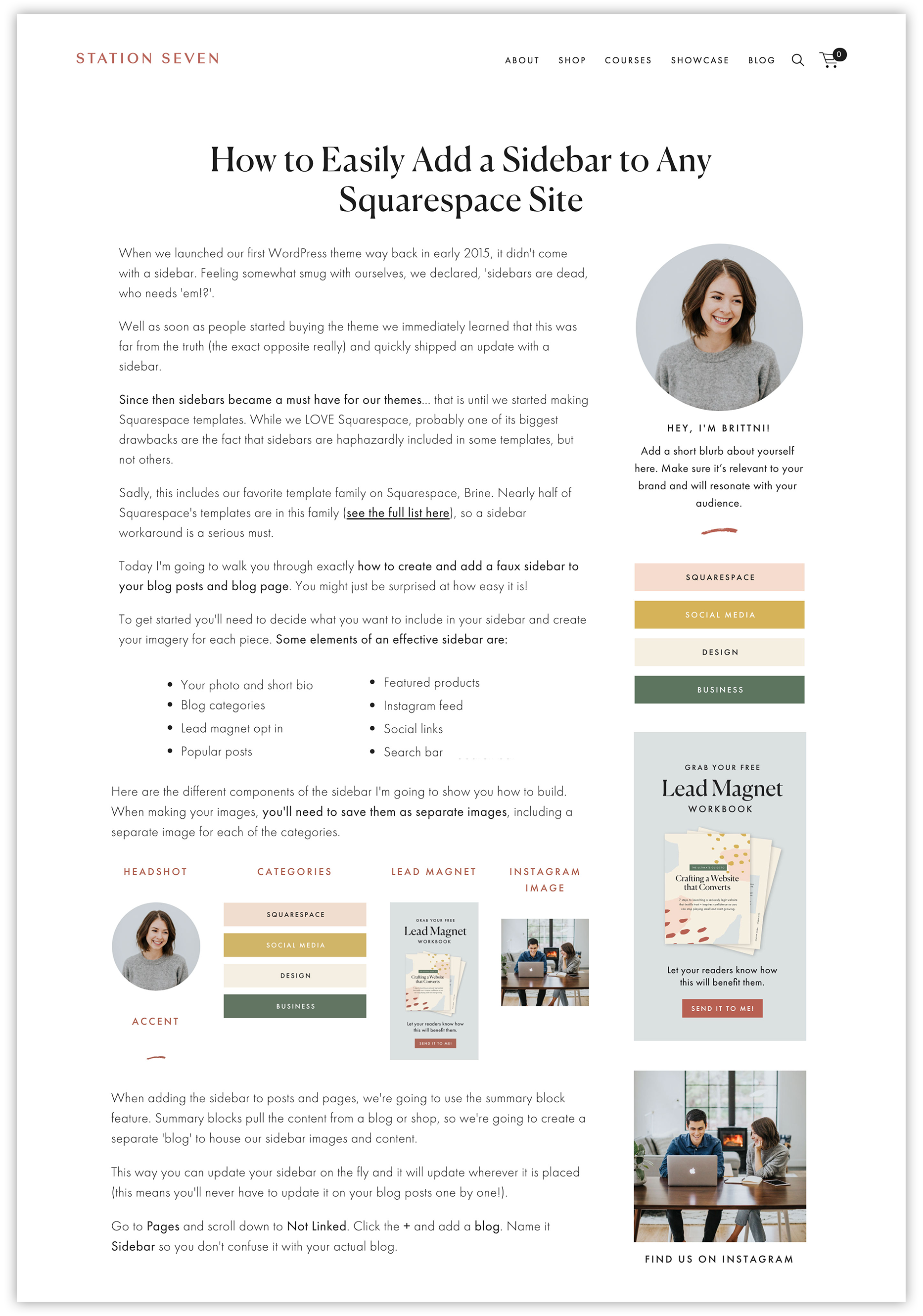 """""""How to Easily Add a Sidebar to Any Squarespace Site"""" by  Station Seven"""