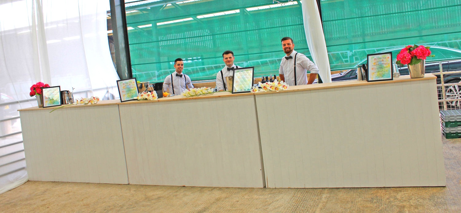 WHITE gloss wooden bar - This high class wooden bar brings to life a garden or vintage theme in a stylish and sophisticated way. This bar is perfect for weddings with a rustic feel and is available to hire in 2m up to 10m in length.get in touch