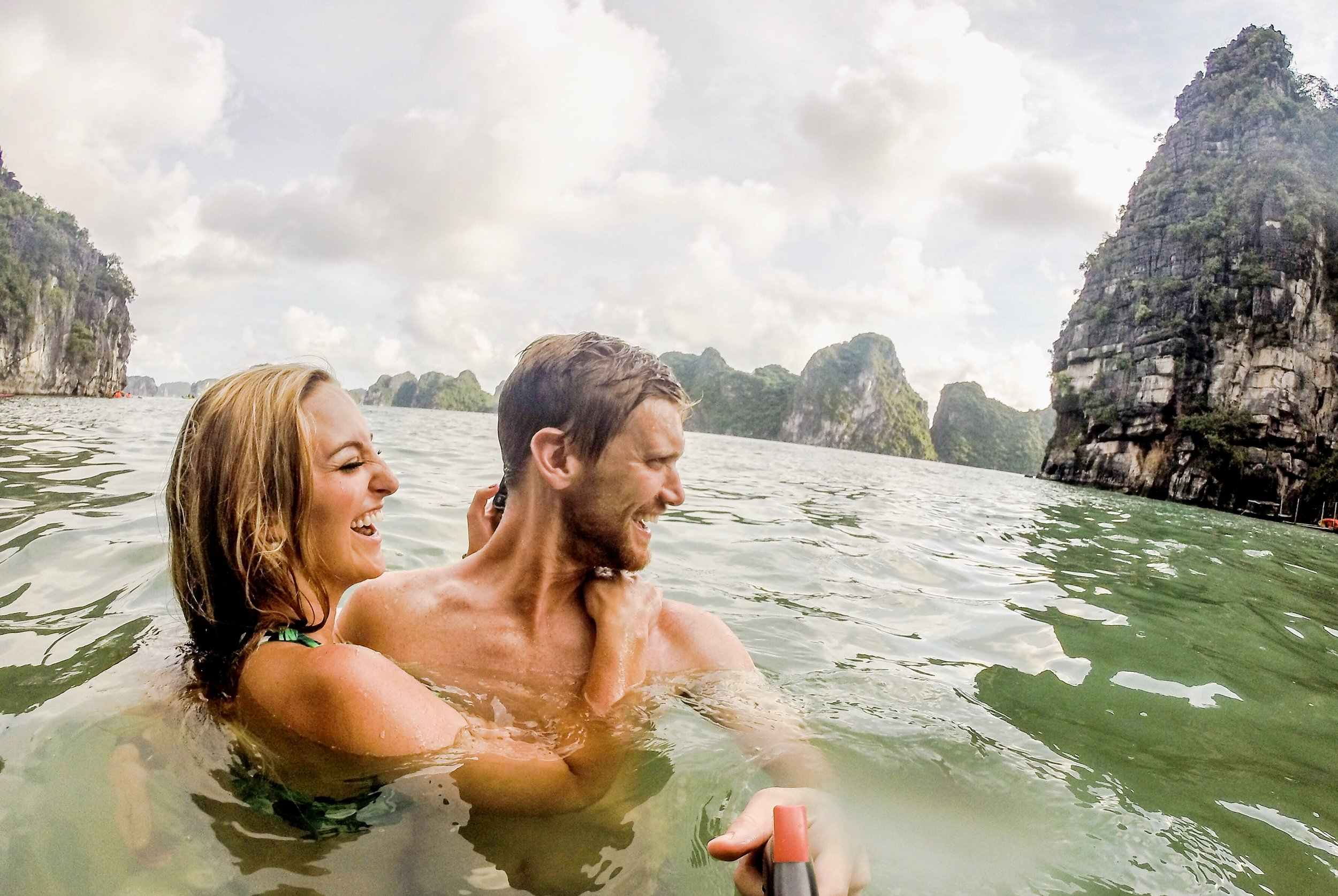 Taken with our GoPro and swivel stick in Ha Long Bay, Vietnam!