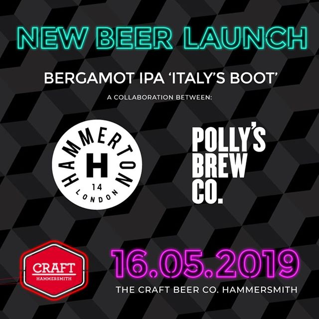 Head to The Craft Beer Co. Hammersmith this Thursday where we'll be hosting the launch of @pollysbrewco and @hammertonbrew's collaboration, Bergamot IPA 'Italy's Boot' 😬