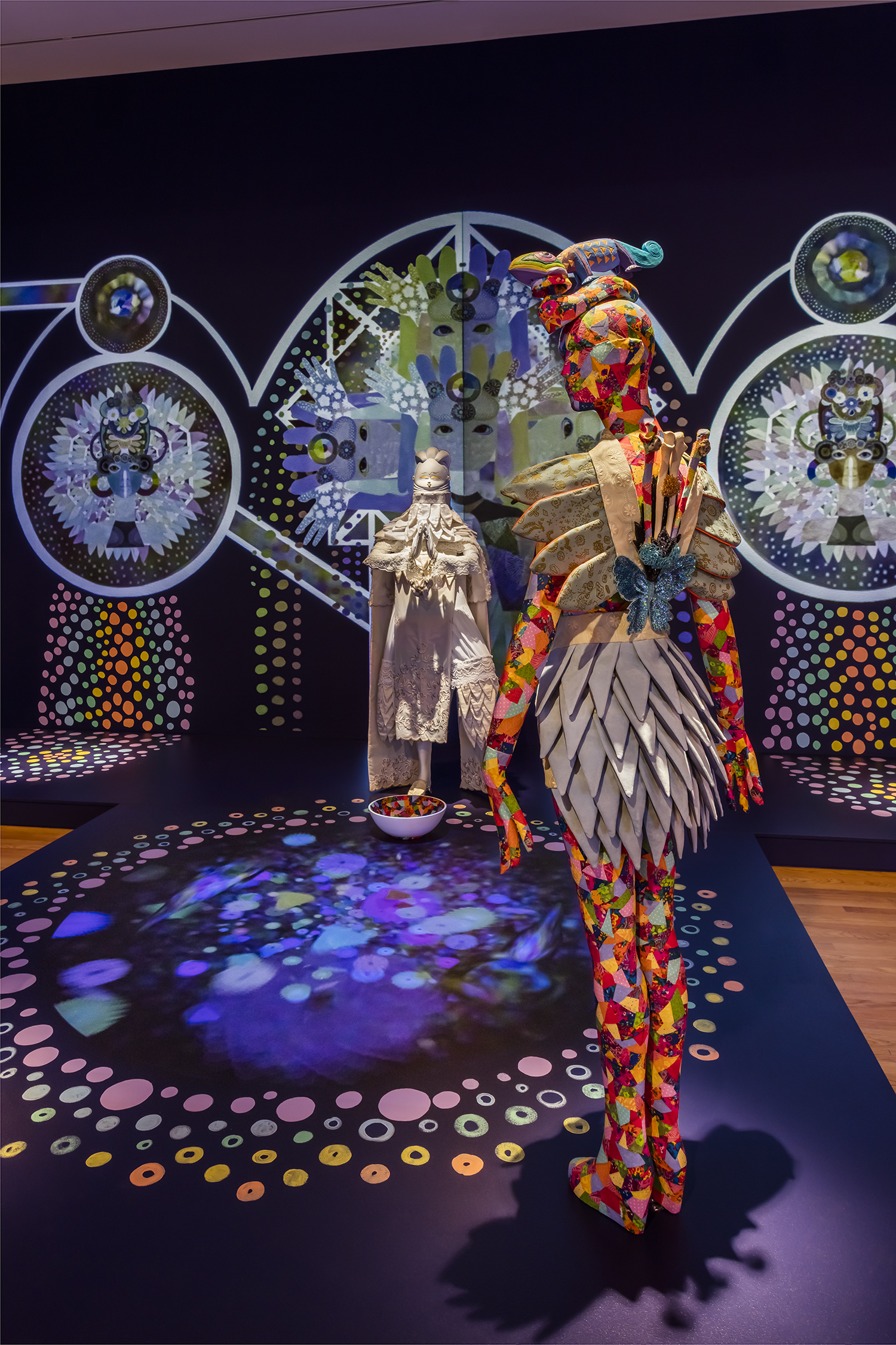 ChimaTEK Life Products Virtual Chimeric Space  Mixed Media with HD Digital Video Projections 42' x 12' x 12' Seattle Art Museum: Disguise: Masks and Global African Art Photo Credit: Nathanial Wilson 2015
