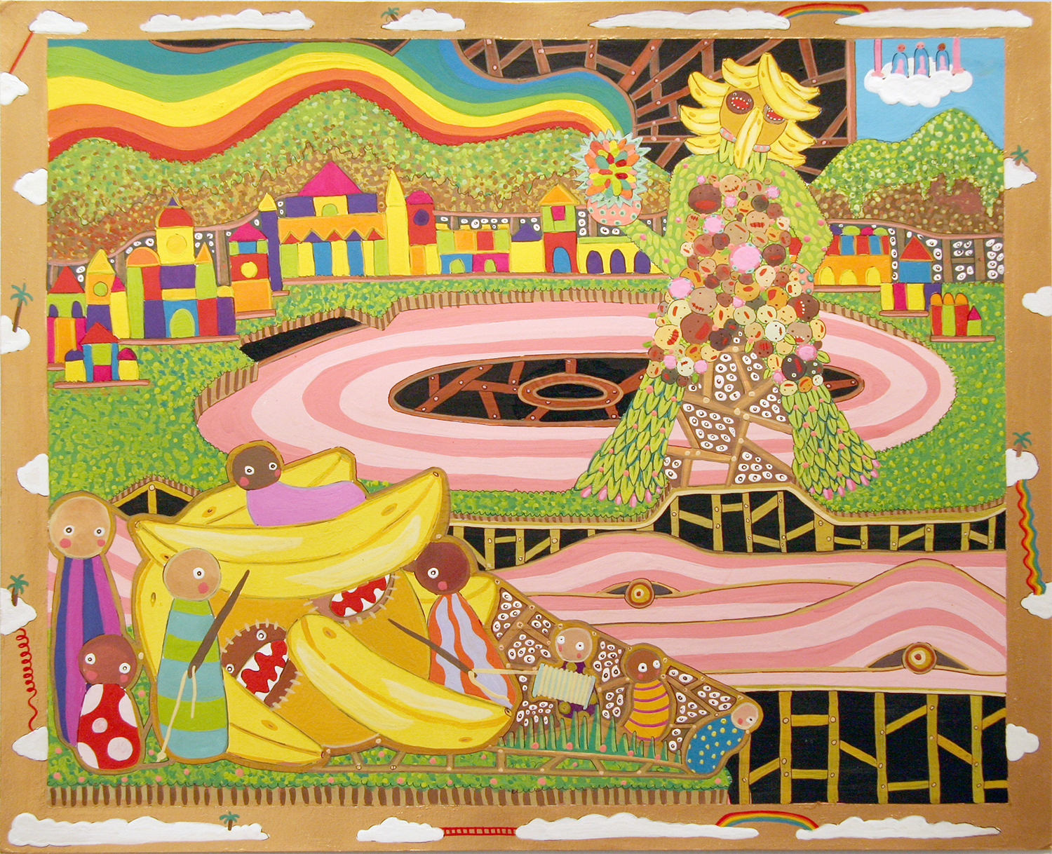 """Cartography of No Place Seven Wonders: Colossus  Gouache on paper 14"""" x 17"""" 2006"""