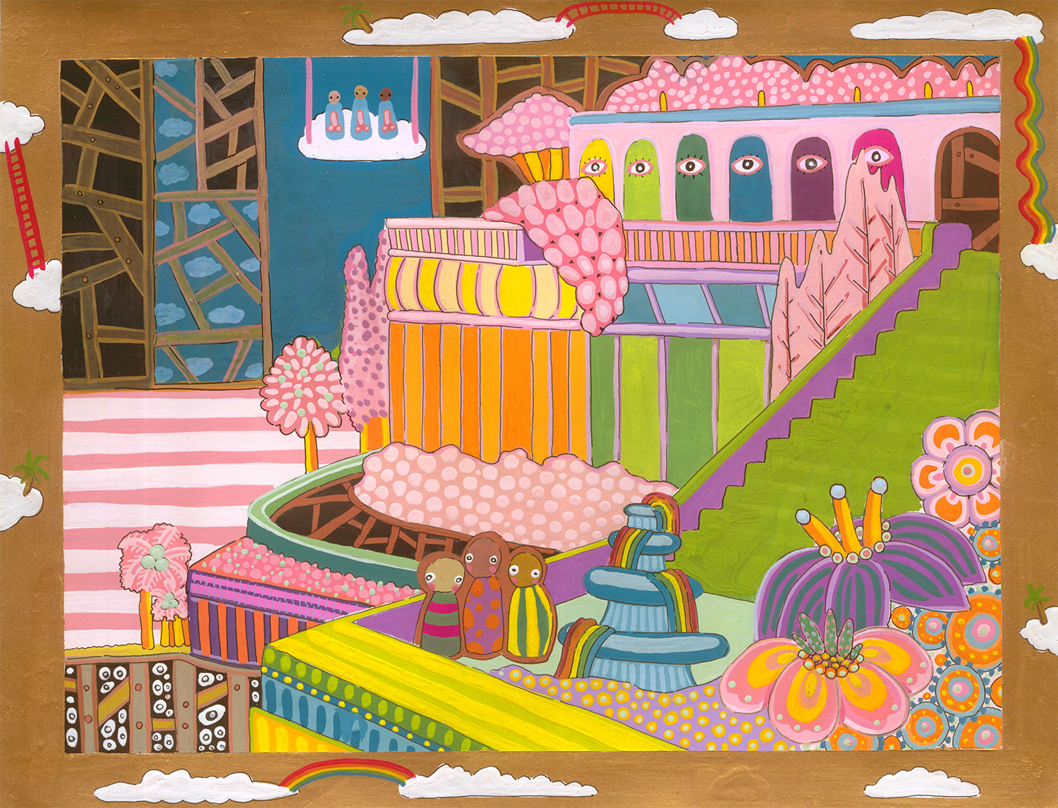 """Cartography of No Place Seven Wonders: Love Palace  Gouache on paper 10"""" x 13"""" 2006"""