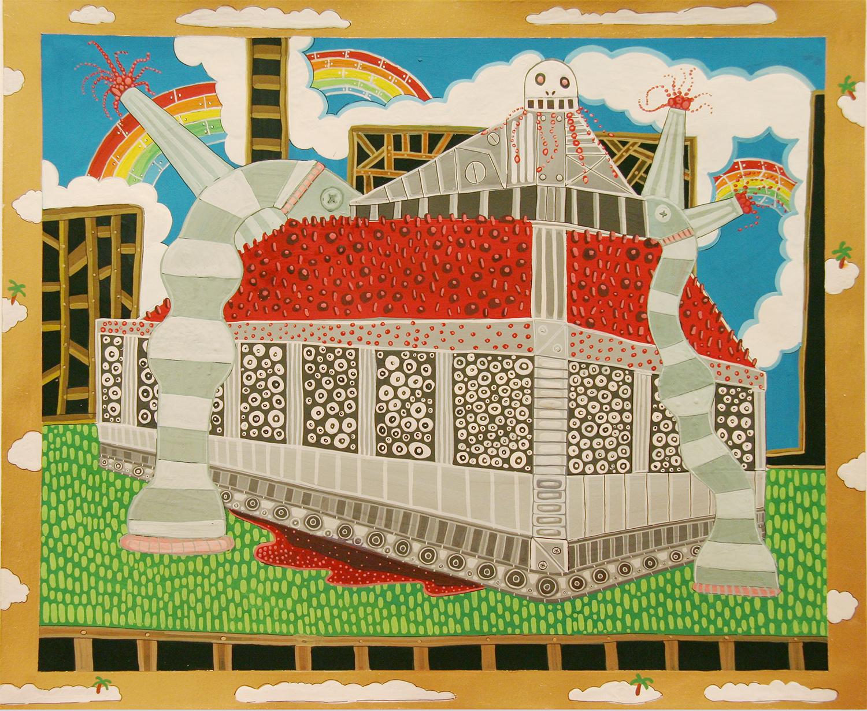 "Cartography of No Place Seven Wonders: Mausoleum  Gouache on paper 14"" x 17"" 2006"