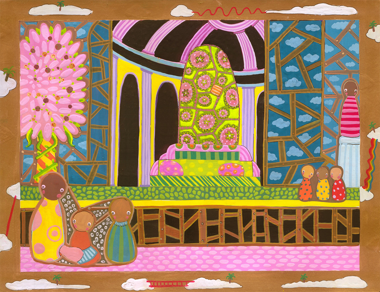 """Cartography of No Place Seven Wonders: Monument, Phallus  Gouache on paper 10"""" x 13"""" 2006"""