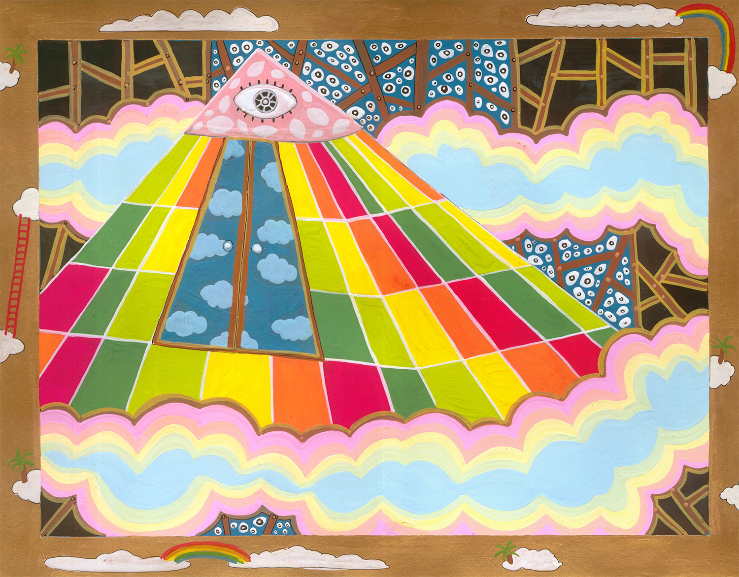 """Cartography of No Place Seven Wonders: Pyramid  Gouache on paper 10"""" x 13"""" 2006"""