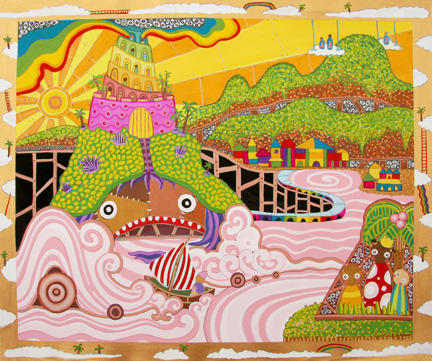 """Cartography of No Place Seven Wonders: The Lighthouse  Gouache on paper 14"""" x 17"""" 2006"""