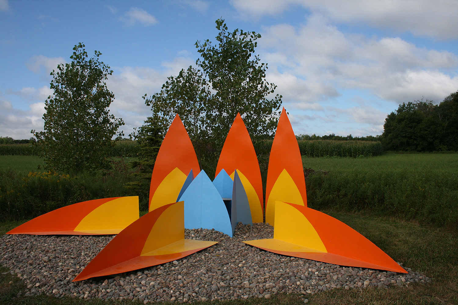 """17768 Tigerlily  Painted steel sculpture 7'11"""" x 21'8"""" x 19'2"""" Franconia Sculpture Park, Shafer, MN 2013"""
