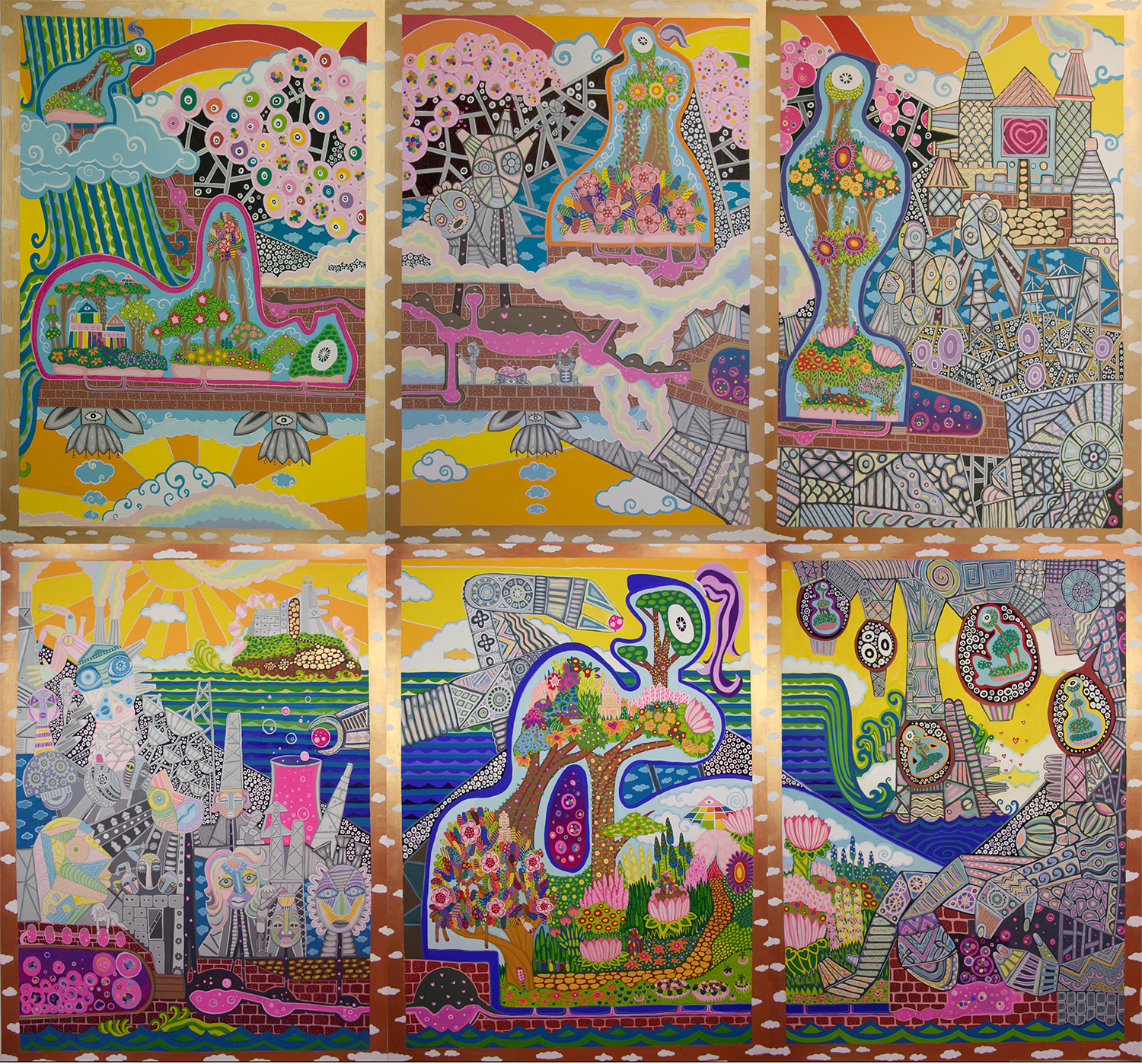 "Epoch of No Place: The Land of the Pleasure Machines  Gouache on paper 80"" x 90"" 2009"