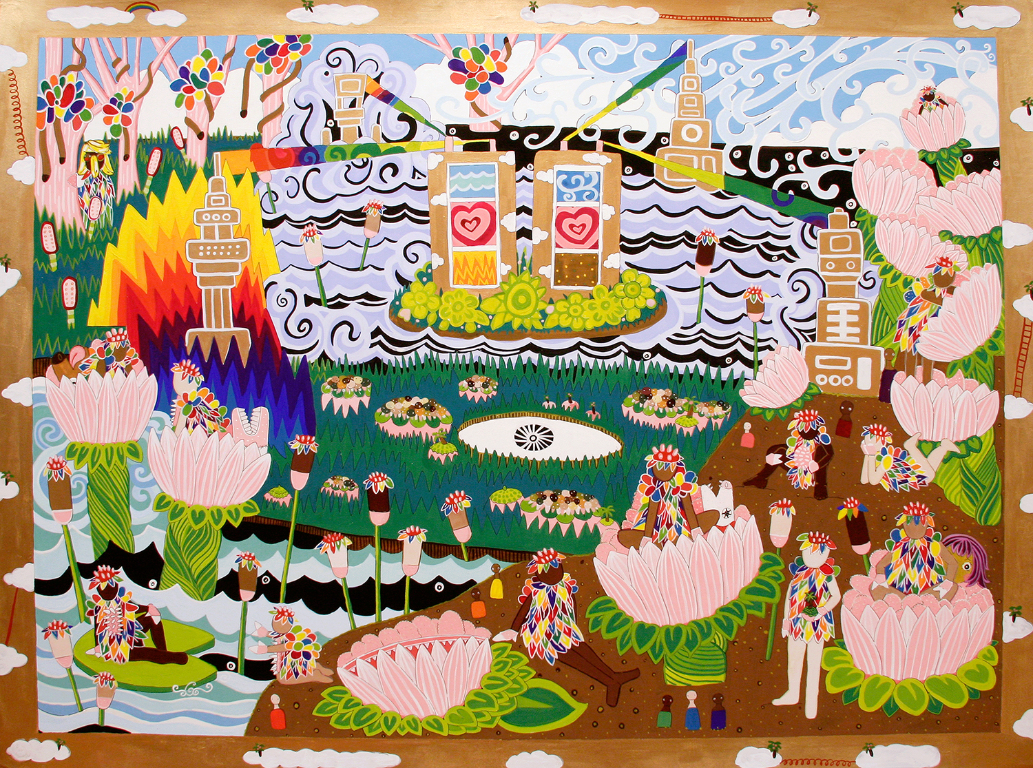 """In the Biodome (social life and the four energies)  Gouache on paper 30"""" x 40"""" 2008"""