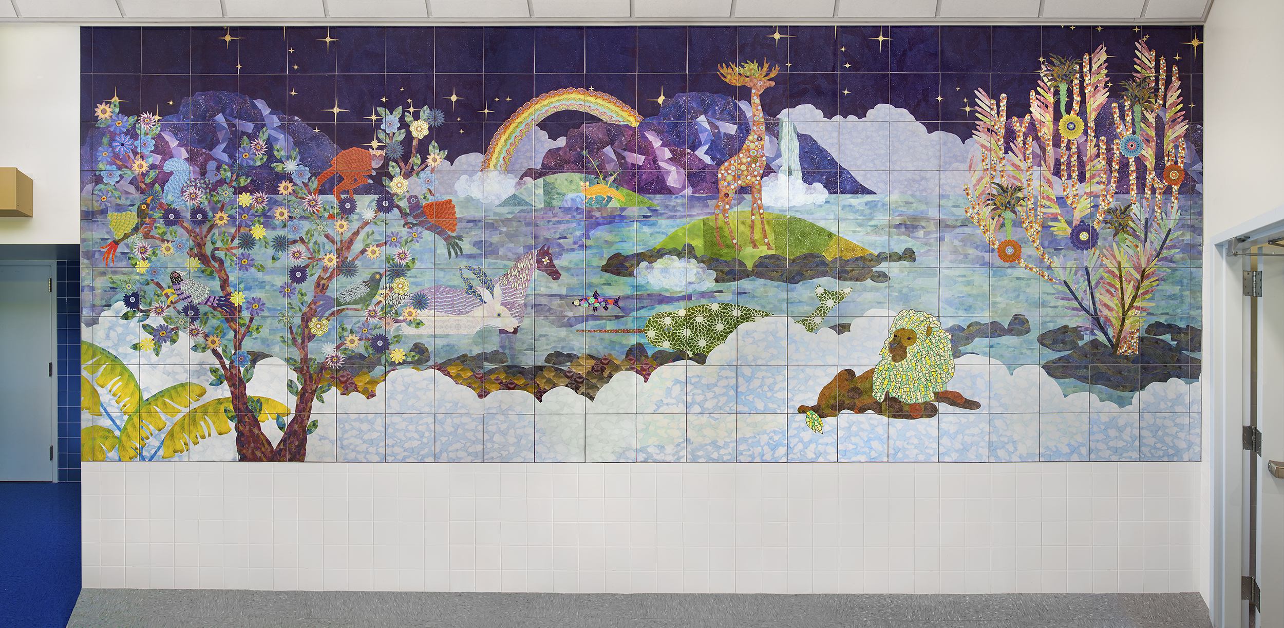 Daydreams of Paper Animals  Ceramic Tile and Smalti Glass Installation View P.S.\I.S. 49Q, NYC Commissioned by Public Art for Public Schools/NYC School Construction Authority, Percent for Art Program 2017