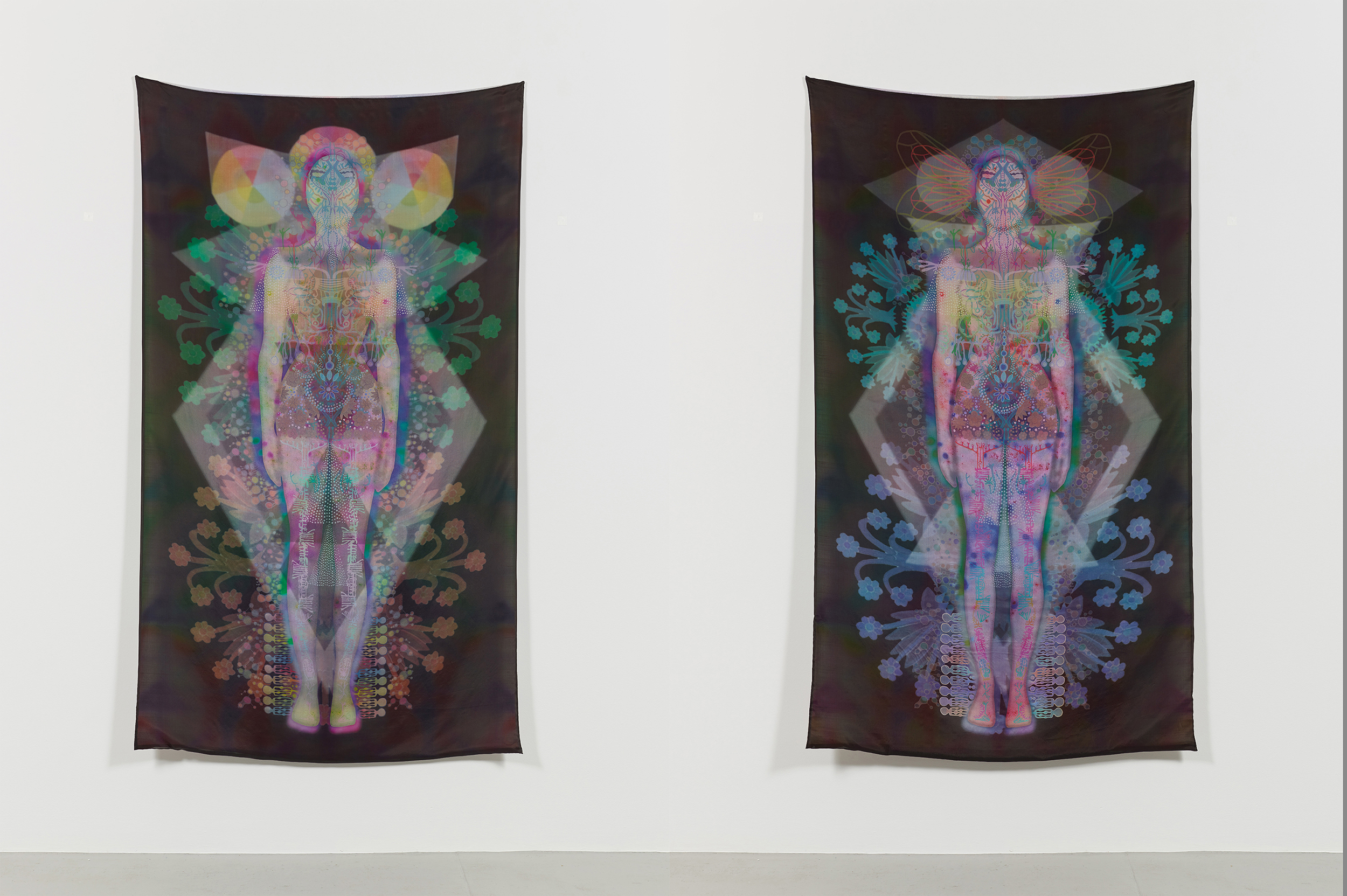 CloudSkin 3, Cloudskin 4  Unique Inkjet Prints on Habotai and Dupioni Silks 71 x 41 inches each 2016