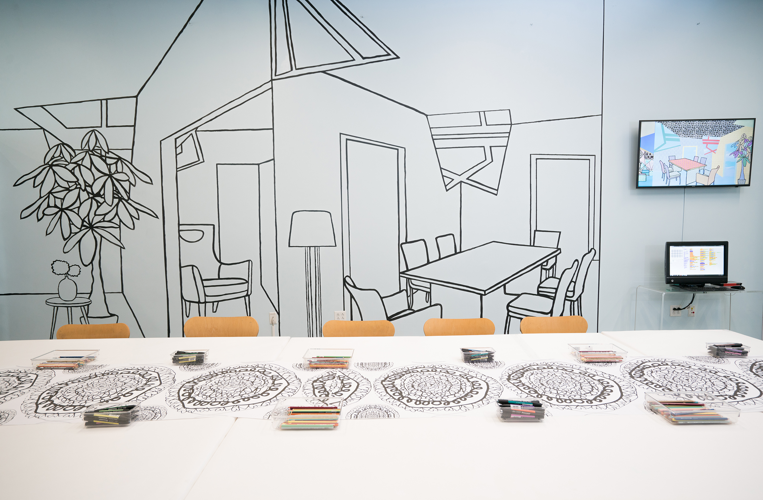 Hybrid Digital Home , Interactive Installation Installation View Museum Visitors Create Patterns and Fill the Line Drawing Using ScratchMIT's Coding Platform The Institute of Contemporary Art, Boston 2018