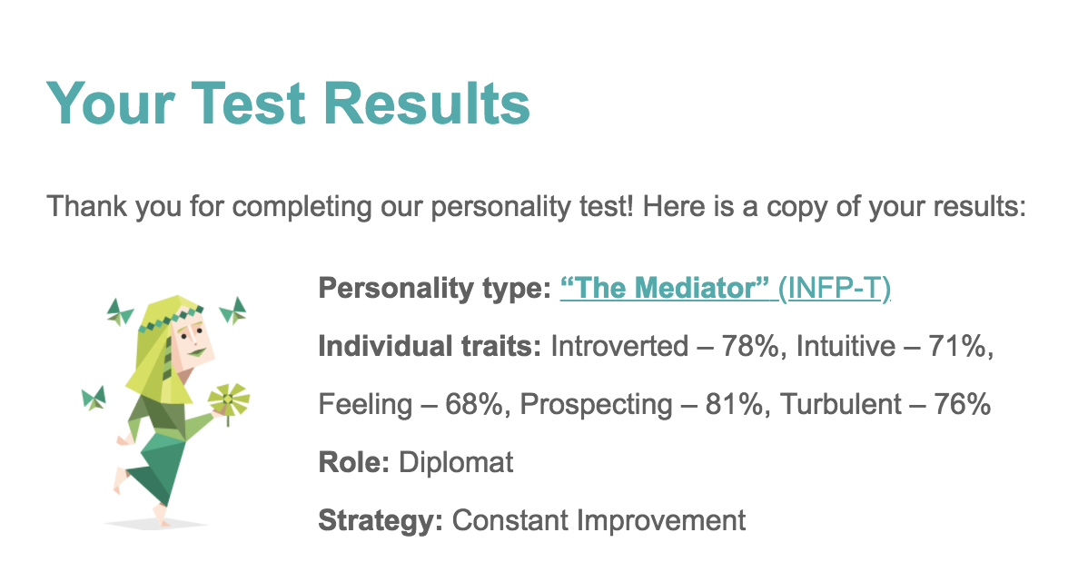 16 personalities test which is a mix of both Jung Typology Test and Myers-Briggs Type Indicator.