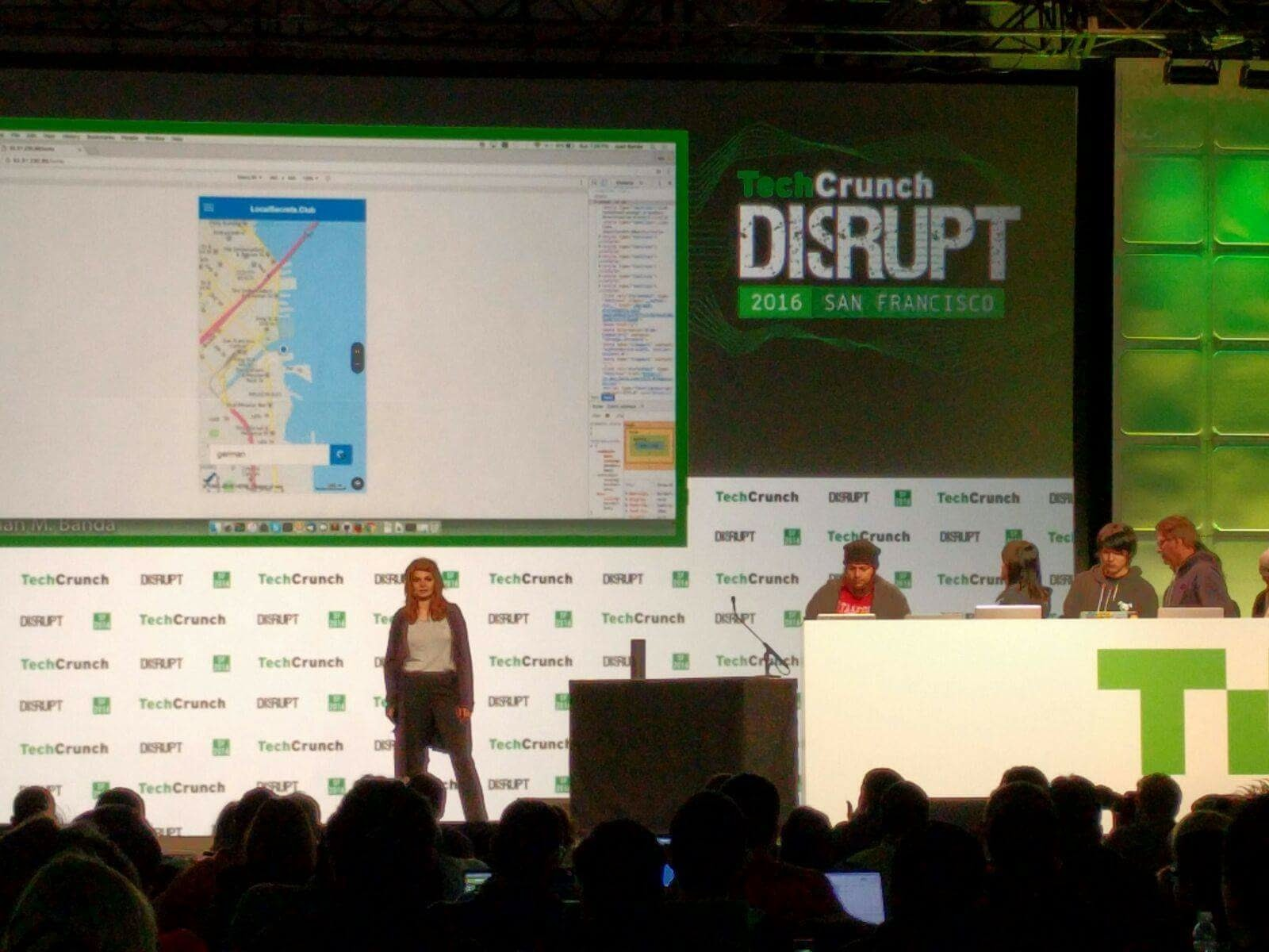 Presenting the our app on the stage at TechCrunch Disrupt Hackathon  2016. One minute pitch in front of an audience of over 500 people.