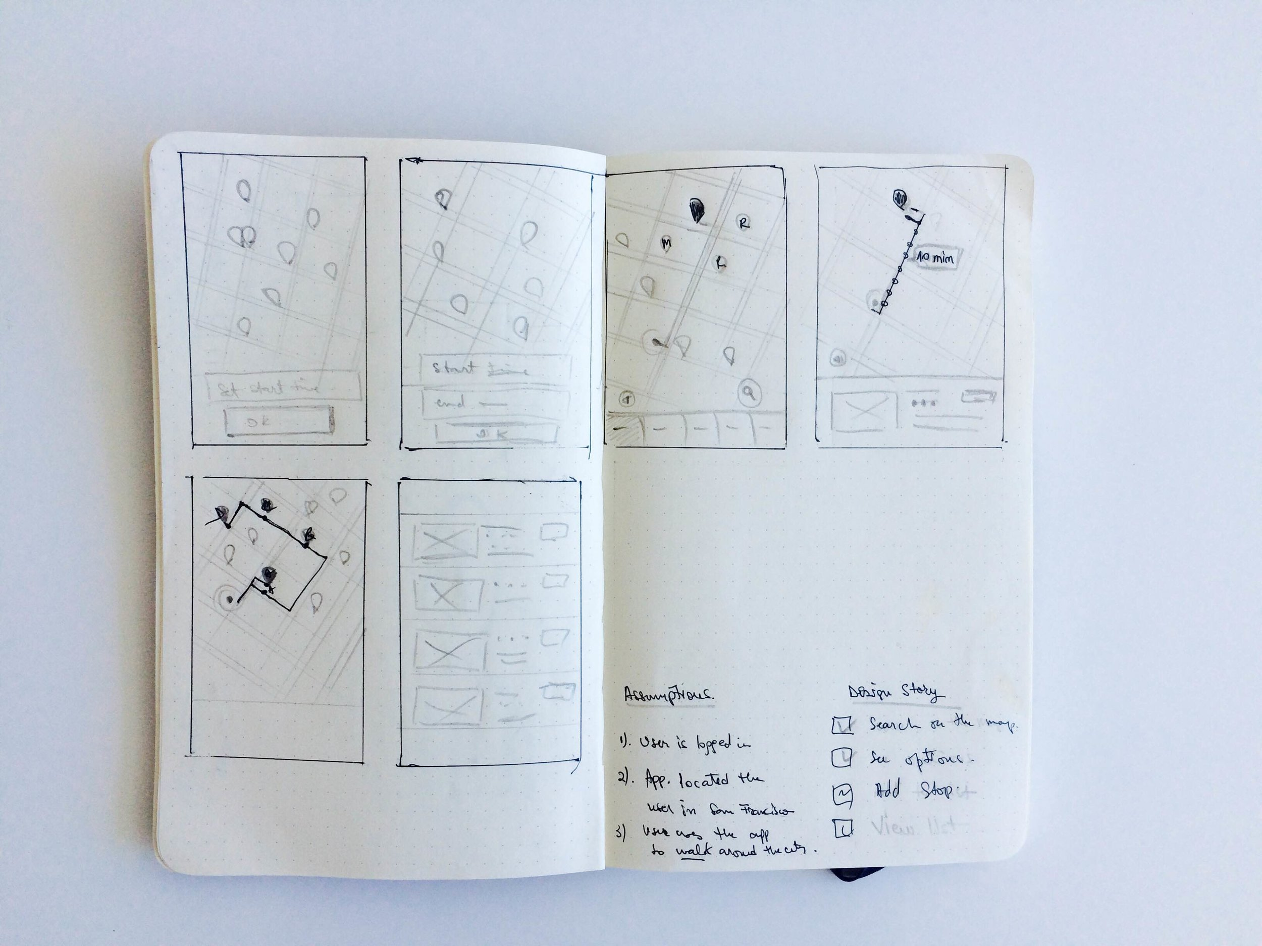 Early sketches exploring different navigation patterns for the app.
