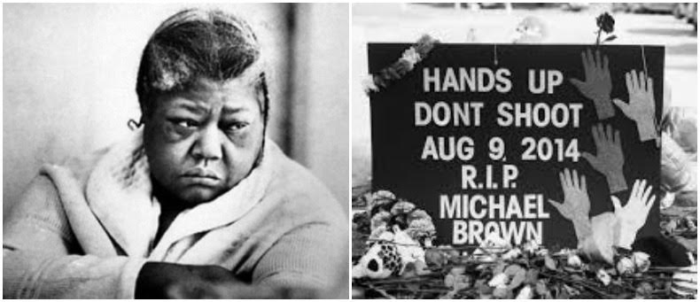 Left: Eleanor Bumpurs, Right: Street memorial for Michael Brown