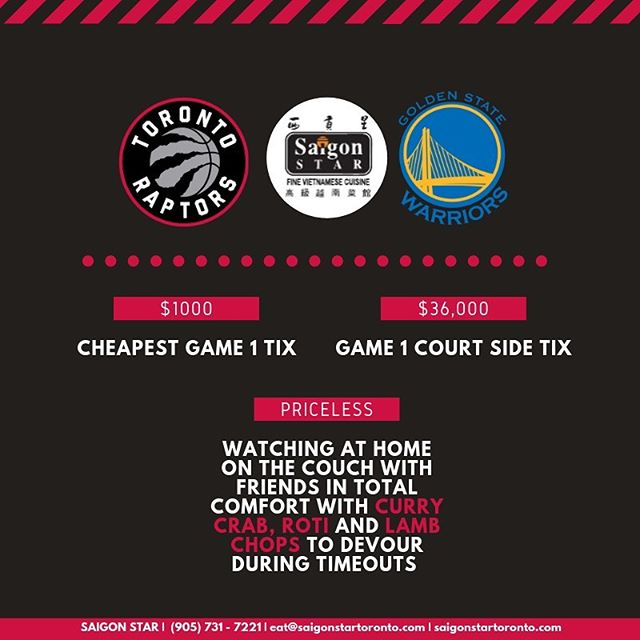 You do the cheering, we bring the chow. Game day is a big day so let us take care of the food! Call now to place your catering order for your Finals viewing party tomorrow! GO RAPTORS GO! . . . . . . . . . . . . . . . . #tastethe6ix #streetsoftoronto #tastetoronto #foodstagram #igerstoronto #lovetoronto #foodporn #instafood #dailyhiveto #markhamfood #toronto #toptorontorestaurants #thedailybite #多伦多 #instafoodie #cravethe6ix #torontoeats #torontofoodie #torontofood #gourmet #markhamfoodie #gastropost #raptors #narcitytoronto #saigonstar #foodielife #richmondhill #curiocityTO #currycrab