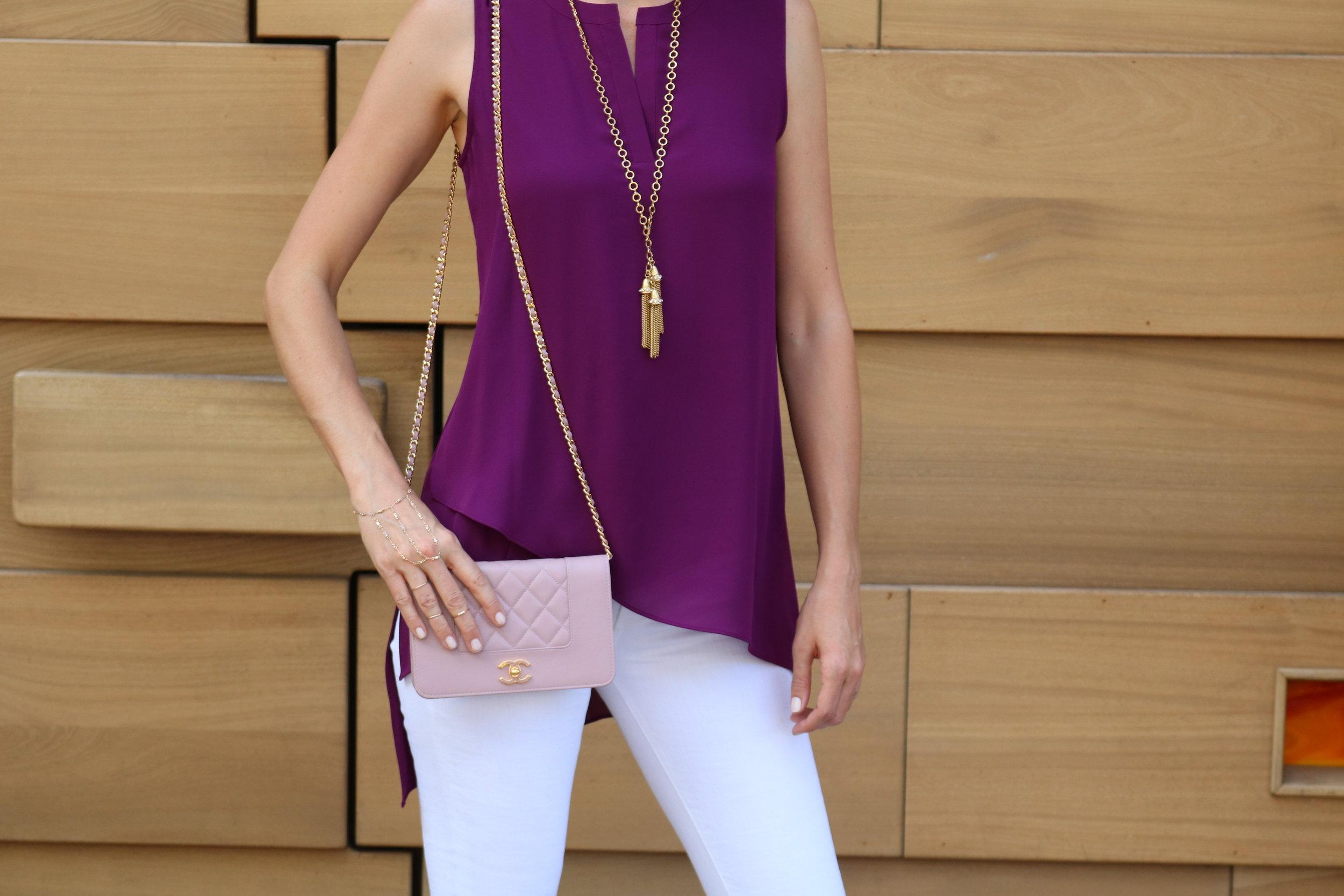 PLEIONE-Sleeveless-Asymmetrical-Tunic-AG-white-jeans-chanel-bag-chain