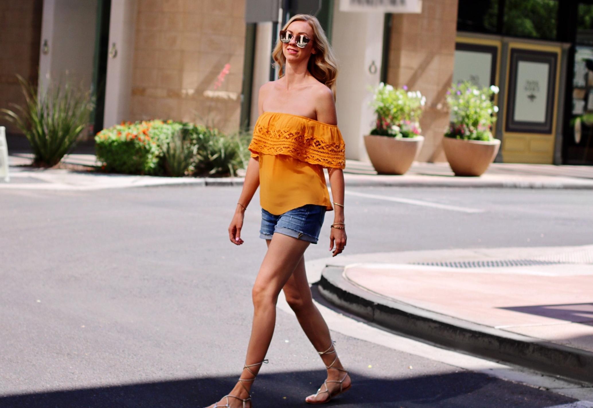 Socialite-off-the-shoulder-top-mustard-madewell-denim-shorts.jpg