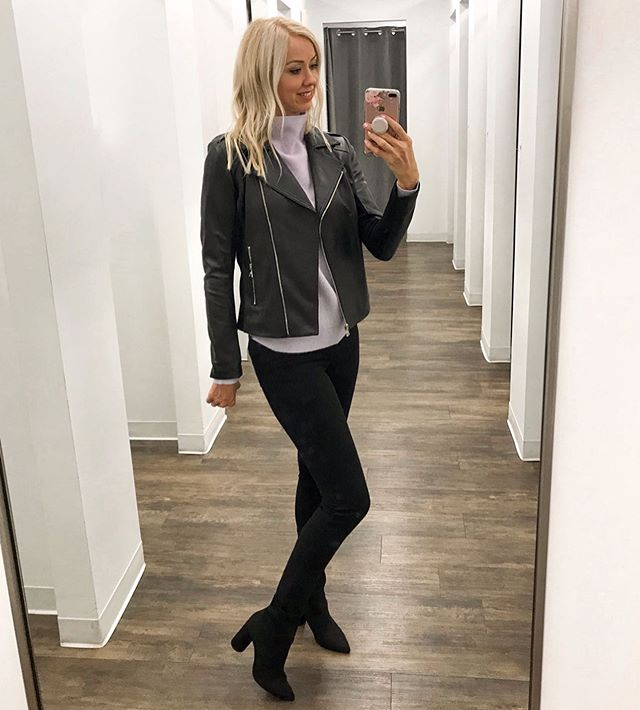 Getting ready for Fall with @saksoff5th today. This moto jacket, sweater and jeans are 40% off rn during the Friends & Family sale! Jacket fits TTS. High-neck lilac cashmere sweater is currently fully stocked, TTS, also comes in ivory. I think I *need* it in both colors.😉 These J Brand jeans are so good - TTS and under $100 with code FRIENDS. These BCBG sock booties are under $75 (25% off) and stocked in all sizes. .  Don't miss my stories for a try on haul w/ all my favorites from the sale! Styles are selling out quick - so don't delay. #OFF5THFinds #ad #falloutfit