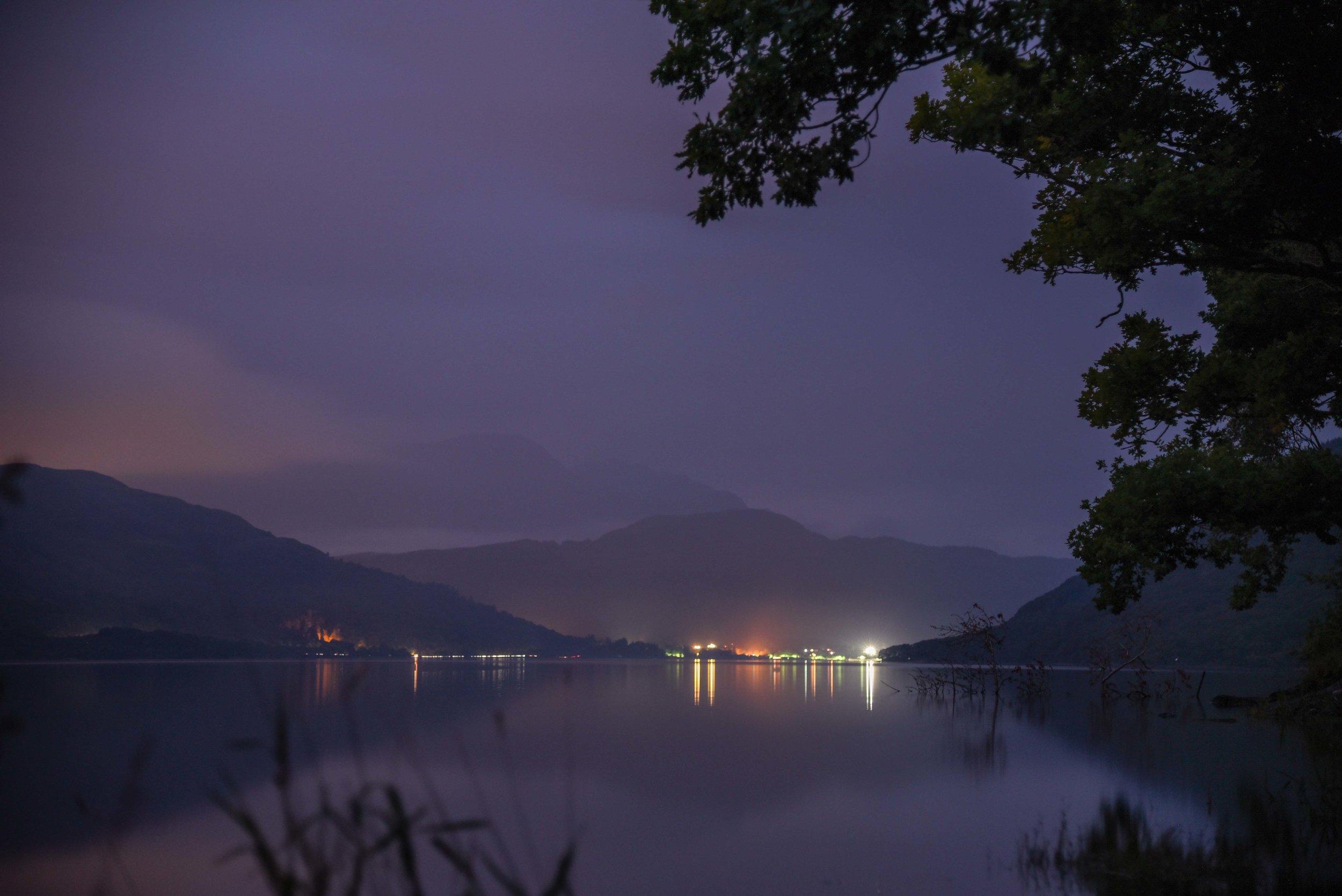 Loch Lomond by night.   Loch Lomond, Scotland.