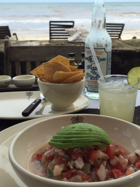 Heavenly ceviche on the beach of Mexico