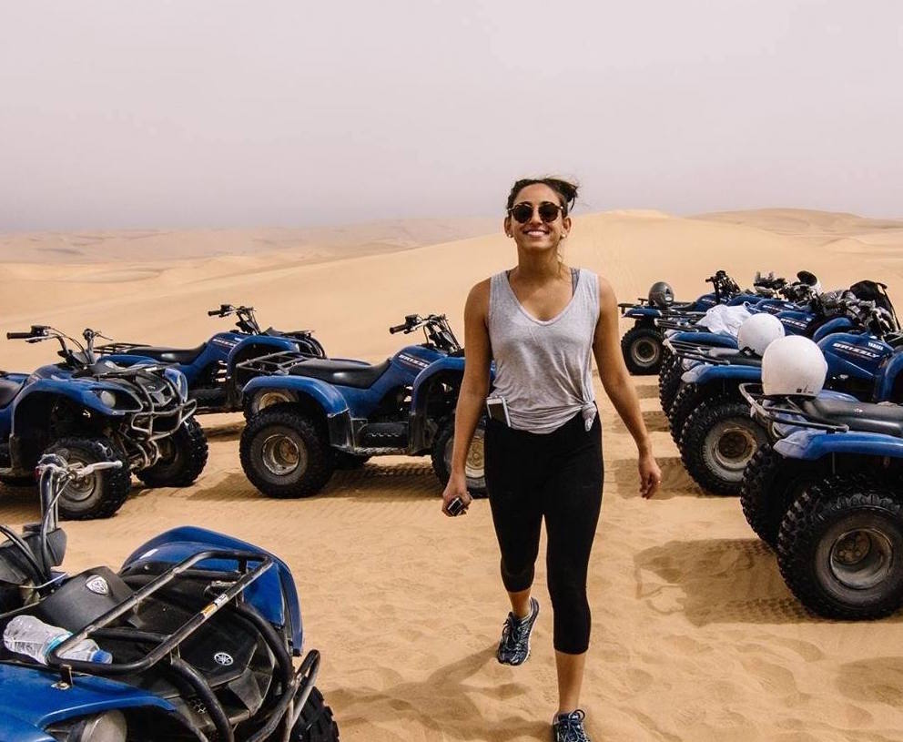 Jordan and her signature smile in the African desert